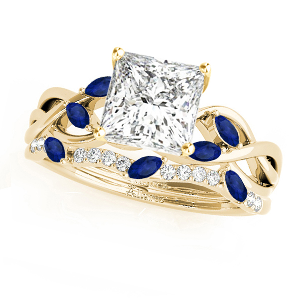 Twisted Princess Blue Sapphires & Diamonds Bridal Sets 14k Yellow Gold (0.73ct)
