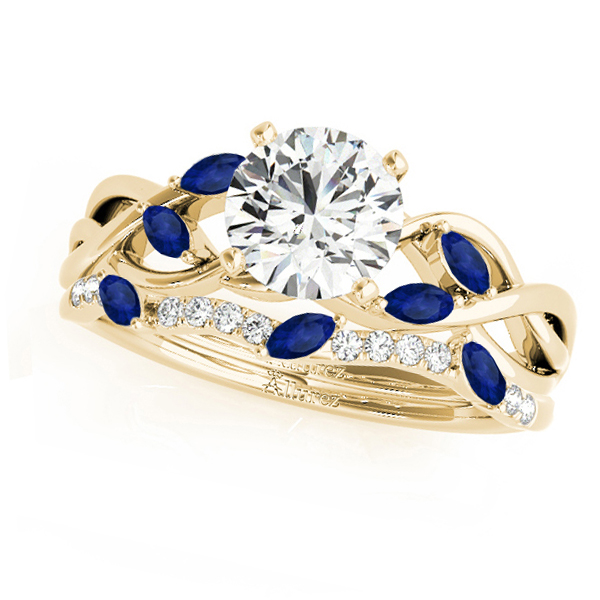 Twisted Round Blue Sapphires & Moissanites Bridal Sets 14k Yellow Gold (1.73ct)
