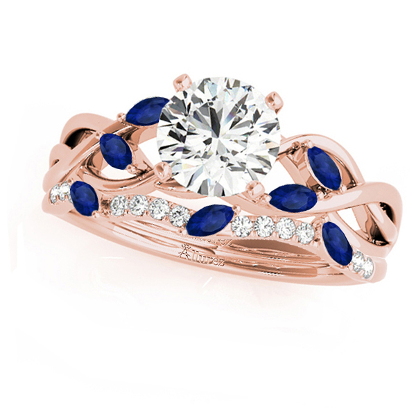 Twisted Round Blue Sapphires & Moissanites Bridal Sets 18k Rose Gold (0.73ct)