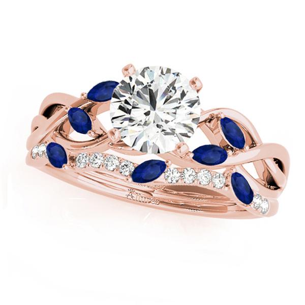 Twisted Round Blue Sapphires & Diamonds Bridal Sets 18k Rose Gold (0.73ct)