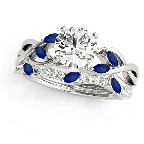 Twisted Round Blue Sapphires & Moissanites Bridal Sets 18k White Gold (0.73ct)