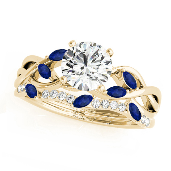 Twisted Round Blue Sapphires & Diamonds Bridal Sets 18k Yellow Gold (1.23ct)