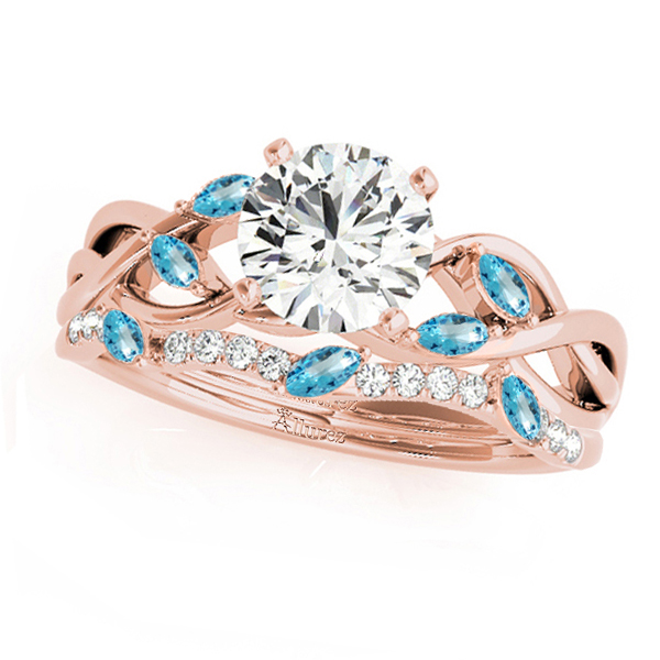 Twisted Round Blue Topazes & Diamonds Bridal Sets 14k Rose Gold (0.73ct)