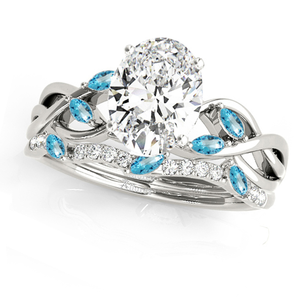 Twisted Oval Blue Topazes & Diamonds Bridal Sets 14k White Gold (1.73ct)