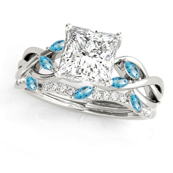 Twisted Princess Blue Topazes & Diamonds Bridal Sets 14k White Gold (1.73ct)