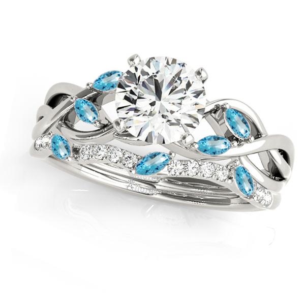 Twisted Round Blue Topazes & Moissanites Bridal Sets 14k White Gold (1.73ct)