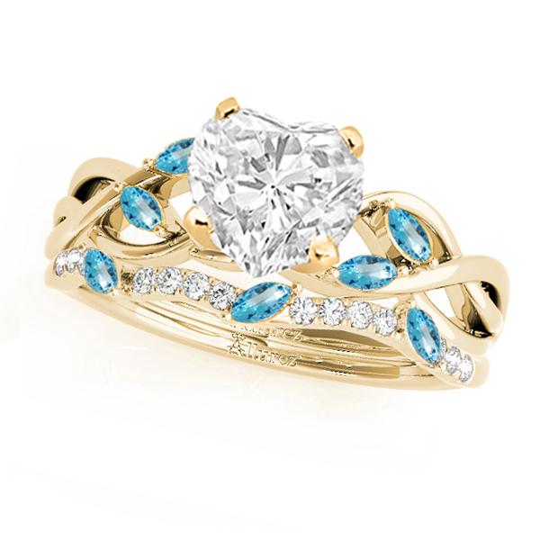 Twisted Heart Blue Topazes & Diamonds Bridal Sets 14k Yellow Gold (1.23ct)