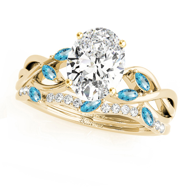 Twisted Oval Blue Topazes & Diamonds Bridal Sets 14k Yellow Gold (1.73ct)