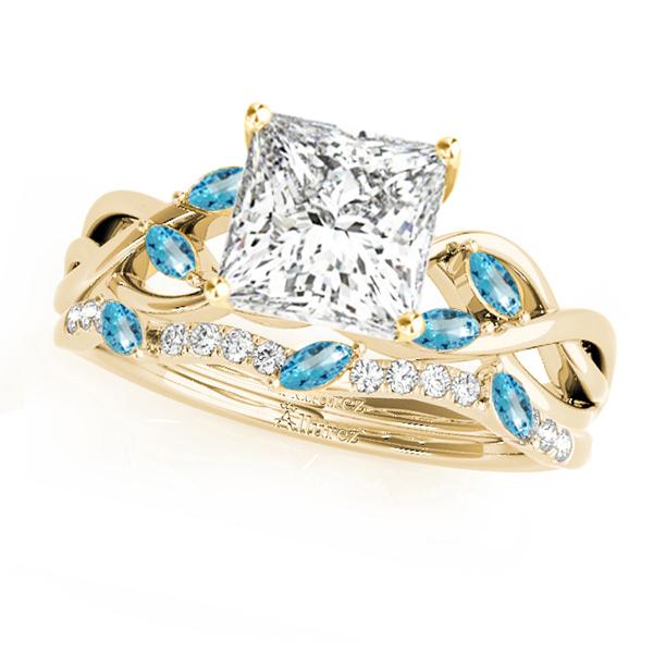 Twisted Princess Blue Topazes & Diamonds Bridal Sets 14k Yellow Gold (1.73ct)