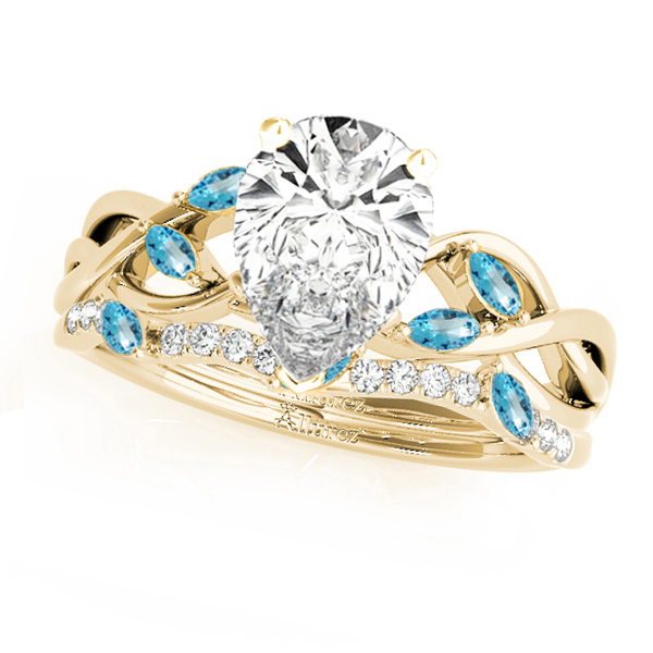 Twisted Pear Blue Topazes & Diamonds Bridal Sets 14k Yellow Gold (1.73ct)