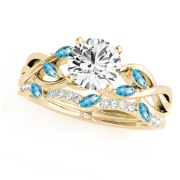 Twisted Round Blue Topazes & Moissanites Bridal Sets 14k Yellow Gold (1.73ct)