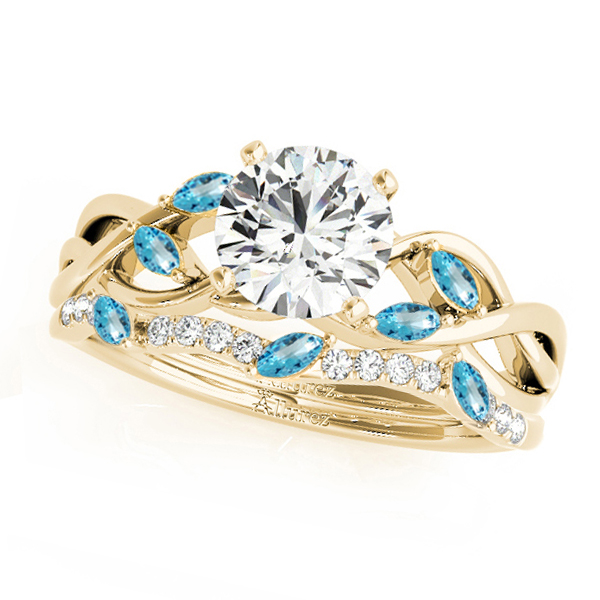 Twisted Round Blue Topazes & Diamonds Bridal Sets 14k Yellow Gold (0.73ct)