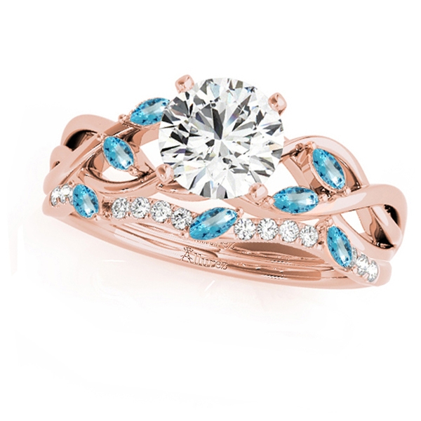 Twisted Round Blue Topazes & Moissanites Bridal Sets 18k Rose Gold (0.73ct)