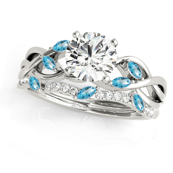 Twisted Round Blue Topazes & Moissanites Bridal Sets 18k White Gold (0.73ct)