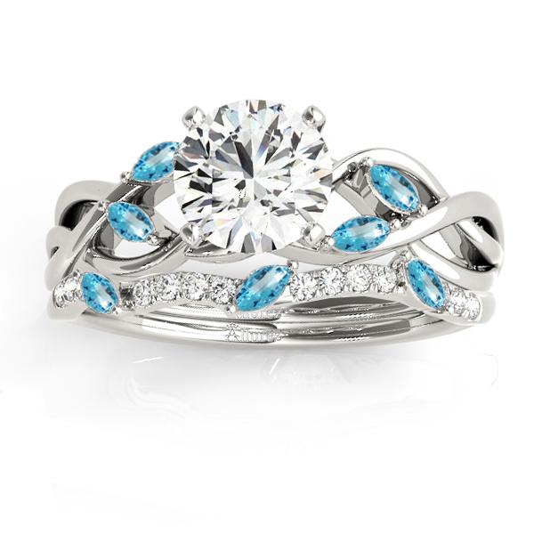 Marquise Blue Topaz & Diamond Bridal Set Setting Palladium (0.43ct)