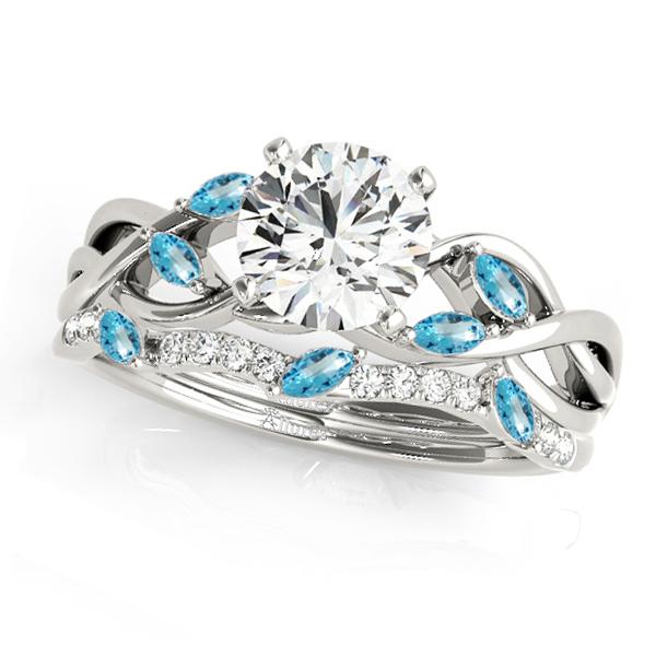 Twisted Round Blue Topazes & Diamonds Bridal Sets Platinum (0.73ct)