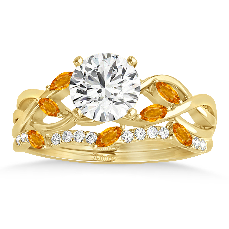 Marquise Citrine & Diamond Bridal Set Setting 14k Yellow Gold (0.43ct)