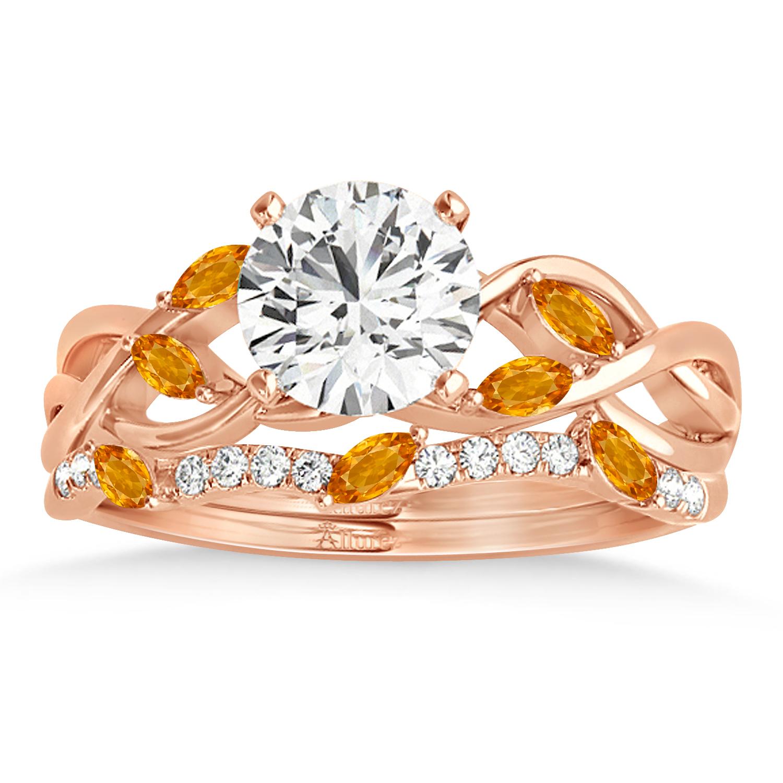 Marquise Citrine & Diamond Bridal Set Setting 18k Rose Gold (0.43ct)