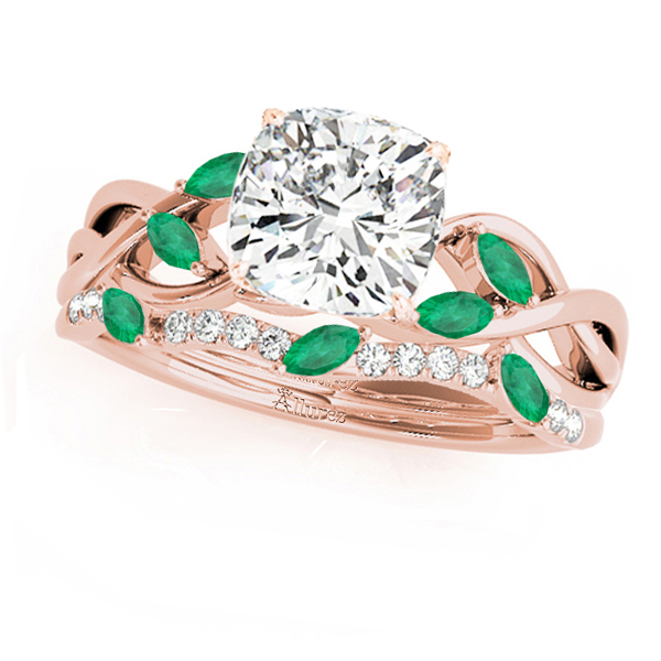 Twisted Cushion Emeralds & Diamonds Bridal Sets 14k Rose Gold (1.23ct)