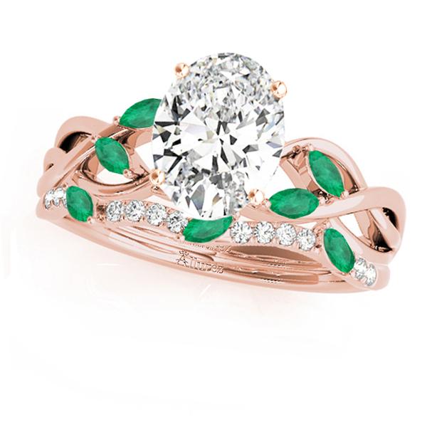 Twisted Oval Emeralds & Diamonds Bridal Sets 14k Rose Gold (1.73ct)