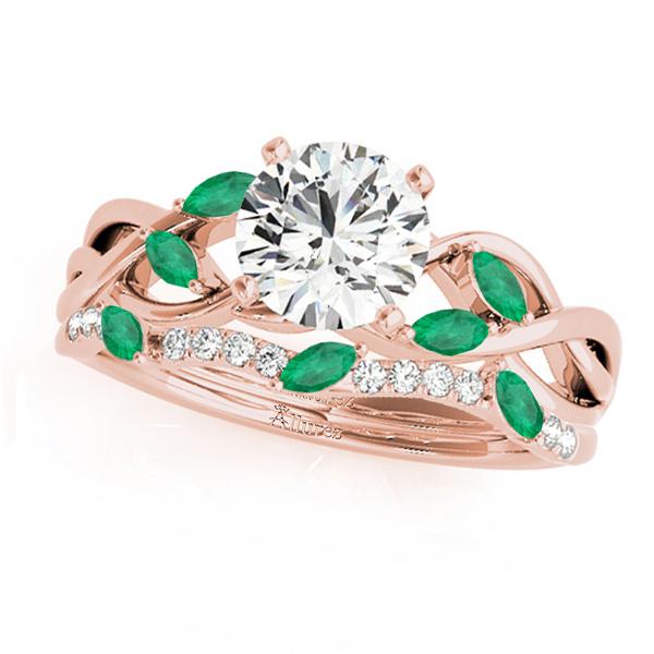 Twisted Round Emeralds & Diamonds Bridal Sets 14k Rose Gold (1.73ct)