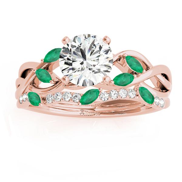 Marquise Emerald & Diamond Bridal Set Setting 14k Rose Gold (0.43ct)