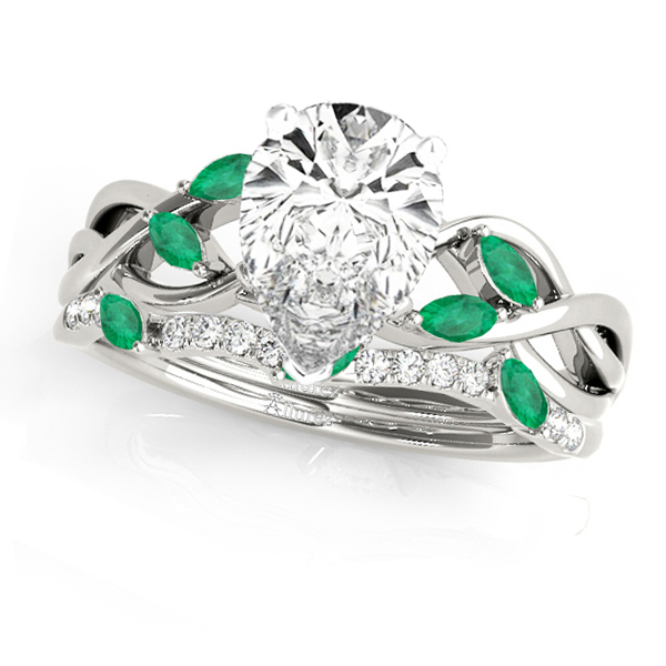 Twisted Pear Emeralds & Diamonds Bridal Sets 14k White Gold (1.23ct)