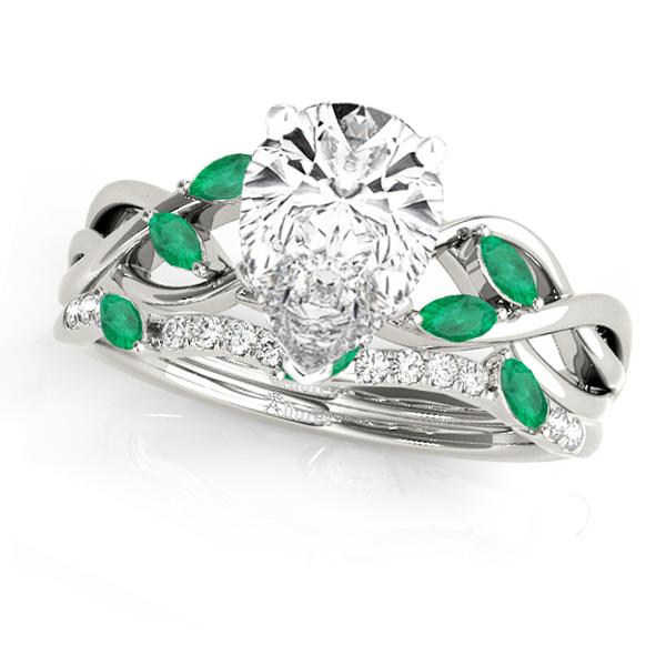 Twisted Pear Emeralds & Diamonds Bridal Sets 14k White Gold (1.73ct)