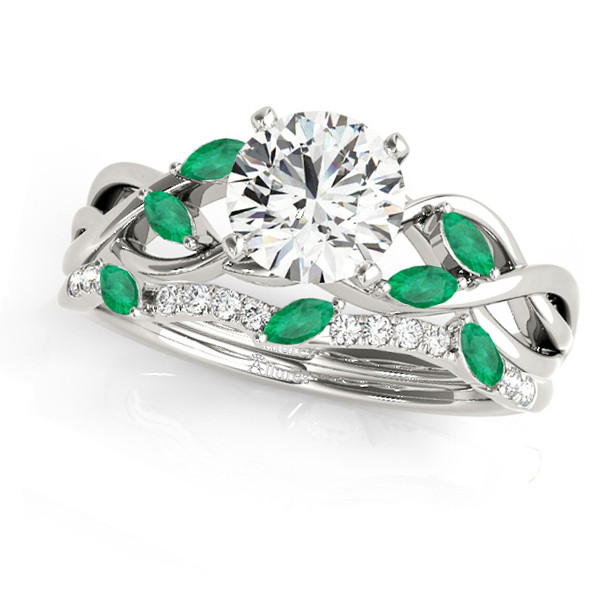 Twisted Round Emeralds & Moissanites Bridal Sets 14k White Gold (0.73ct)