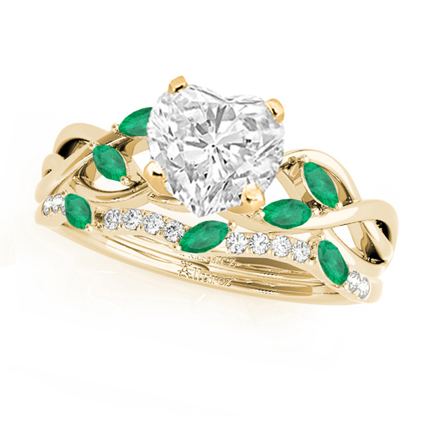 Twisted Heart Emeralds & Diamonds Bridal Sets 14k Yellow Gold (1.73ct)