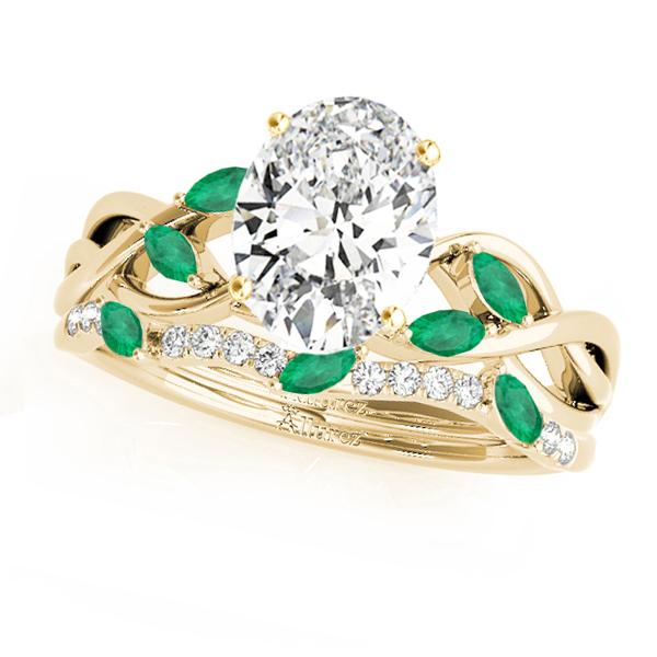 Twisted Oval Emeralds & Diamonds Bridal Sets 14k Yellow Gold (1.23ct)