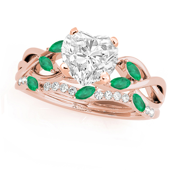 Twisted Heart Emeralds & Diamonds Bridal Sets 18k Rose Gold (1.23ct)
