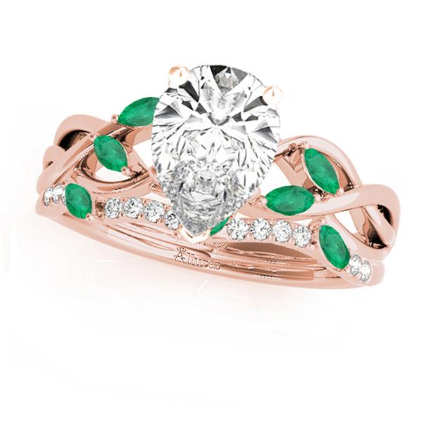 Twisted Pear Emeralds & Diamonds Bridal Sets 18k Rose Gold (1.73ct)