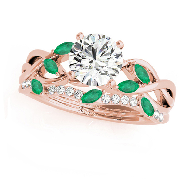 Twisted Round Emeralds & Moissanites Bridal Sets 18k Rose Gold (1.73ct)
