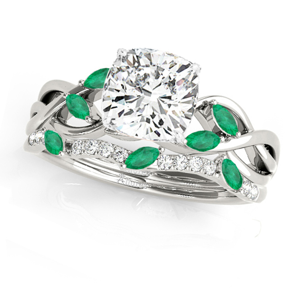 Twisted Cushion Emeralds & Diamonds Bridal Sets 18k White Gold (1.73ct)
