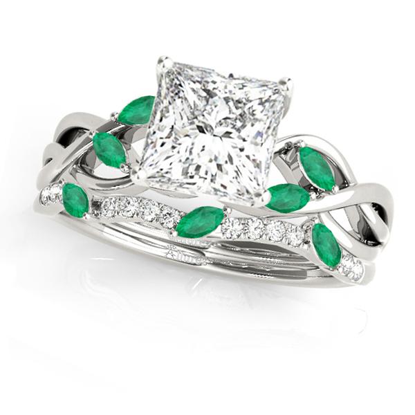 Twisted Princess Emeralds & Diamonds Bridal Sets 18k White Gold (0.73ct)
