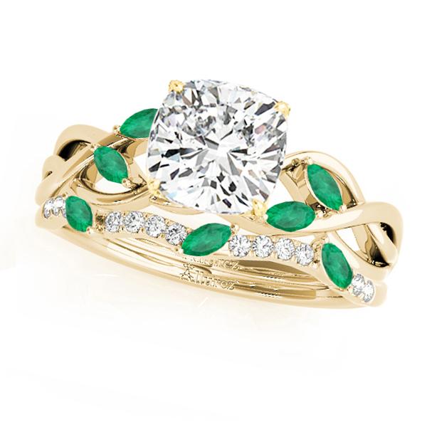 Twisted Cushion Emeralds & Diamonds Bridal Sets 18k Yellow Gold (1.23ct)