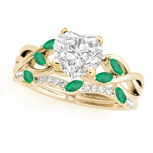 Twisted Heart Emeralds & Diamonds Bridal Sets 18k Yellow Gold (1.73ct)