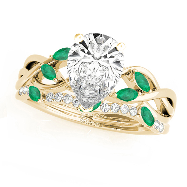 Twisted Pear Emeralds & Diamonds Bridal Sets 18k Yellow Gold (1.73ct)