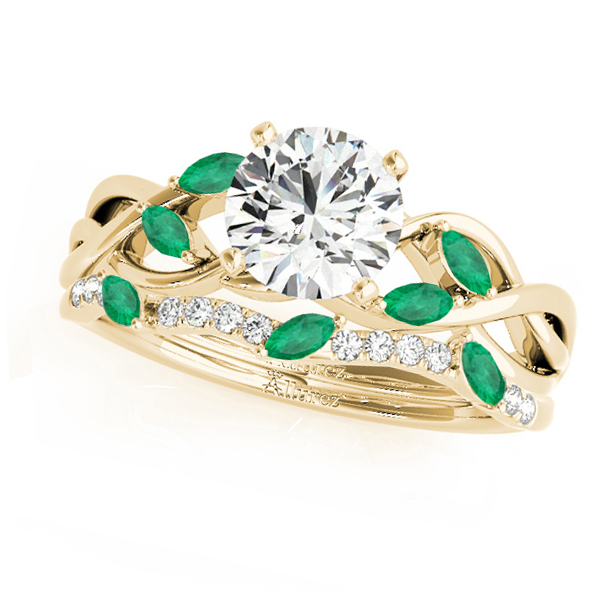 Twisted Round Emeralds & Moissanites Bridal Sets 18k Yellow Gold (1.73ct)