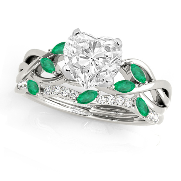Twisted Heart Emeralds & Diamonds Bridal Sets Palladium (1.73ct)