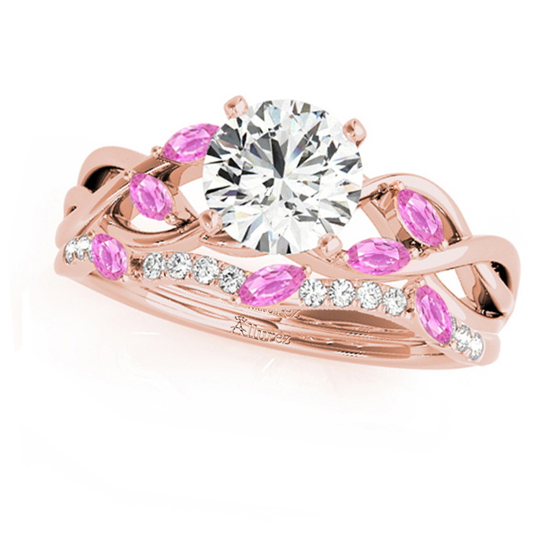 Twisted Round Pink Sapphires & Moissanites Bridal Sets 14k Rose Gold (1.23ct)
