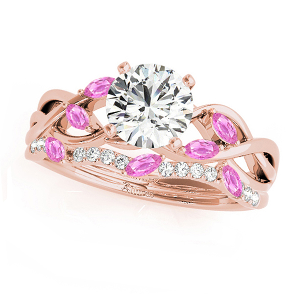 Twisted Round Pink Sapphires & Diamonds Bridal Sets 14k Rose Gold (0.73ct)