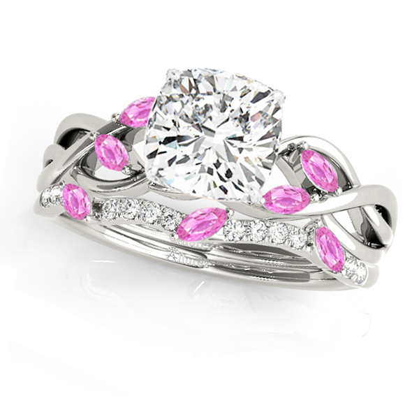 Twisted Cushion Pink Sapphires & Diamonds Bridal Sets 14k White Gold (1.23ct)