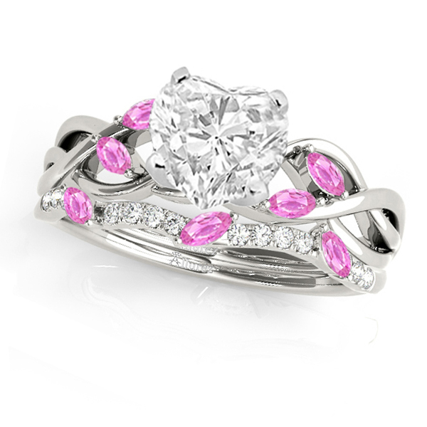 Twisted Heart Pink Sapphires & Diamonds Bridal Sets 14k White Gold (1.73ct)