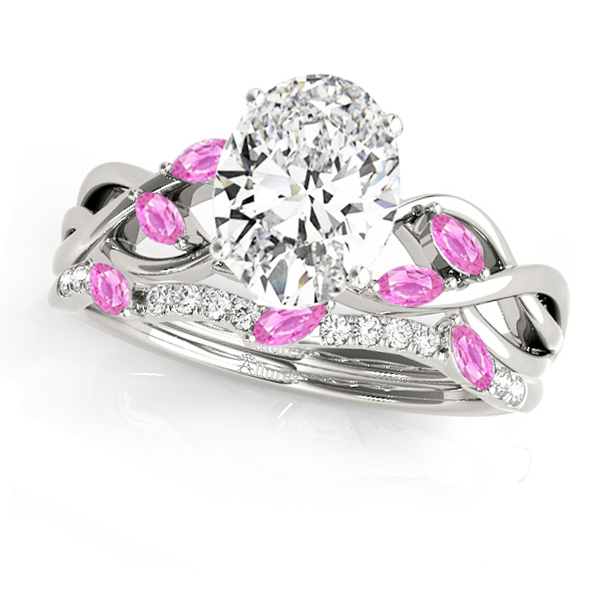 Twisted Oval Pink Sapphires & Diamonds Bridal Sets 14k White Gold (1.73ct)