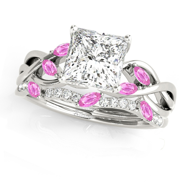 Twisted Princess Pink Sapphires & Diamonds Bridal Sets 14k White Gold (0.73ct)