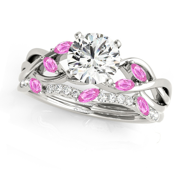 Twisted Round Pink Sapphires & Moissanites Bridal Sets 14k White Gold (1.73ct)