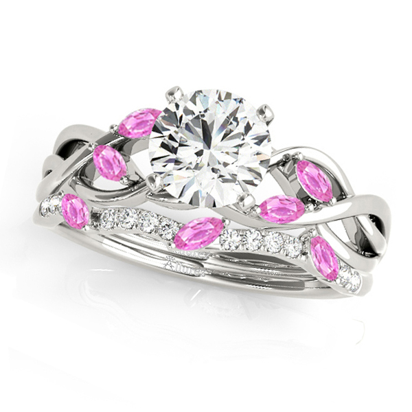 Twisted Round Pink Sapphires & Diamonds Bridal Sets 14k White Gold (1.23ct)