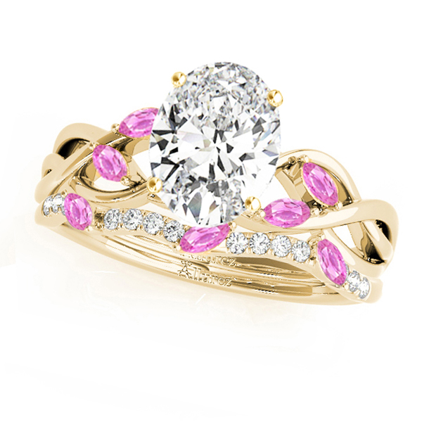 Twisted Oval Pink Sapphires & Diamonds Bridal Sets 14k Yellow Gold (1.23ct)